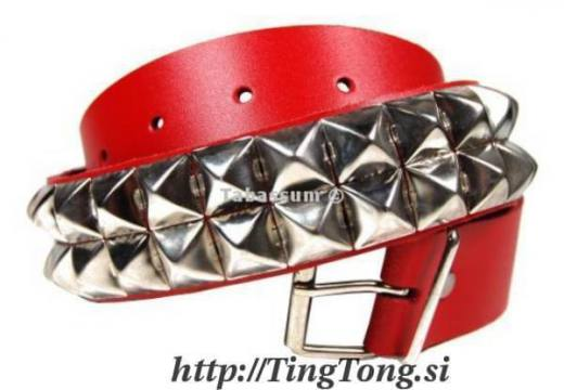 Pas Usnjen 2 R. Pyramid Rivets Red 9480
