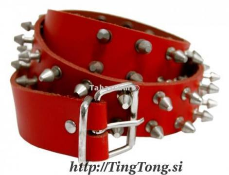 Pas Usnjen 2 R. Killer Rivets Red 9493